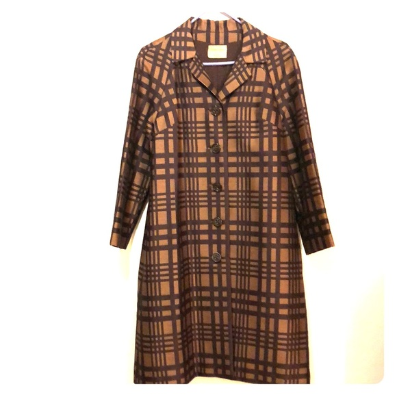Custom Made By Dorris Tillotson Jackets & Blazers - Vintage Custom Made Plaid Long Dress Peacoat